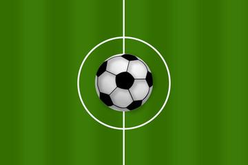 Fußball auf Mittellinie
