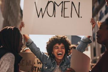 Female activist protesting for women empowerment