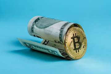 Bitcoin against the dollar on a blue background