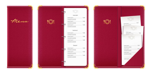 Red covered menu book with check. Concept design for restaurant