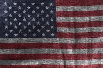 USA flag On Jeans Denim Texture. Closeup of United States of America Flag