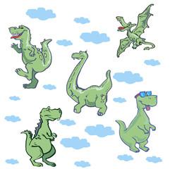 Vector illustration of funny cartoon dinosaur pattern