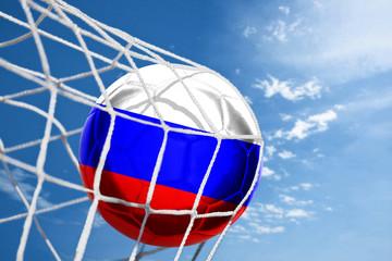 Fussball mit russischer Flagge