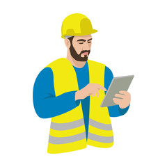 Worker in a helmet with a tablet in his hands