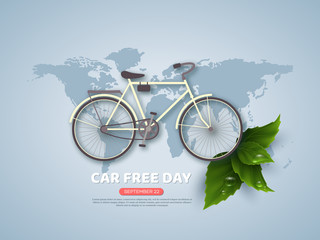 Car free day holiday banner or poster. Paper cut style bicycle, realistic leaves with water drops. Wold map blue color background, vector illustration.