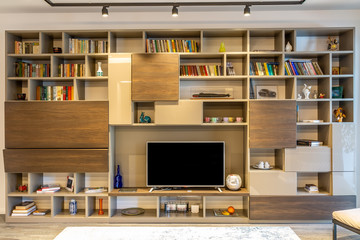 book shelf with tv
