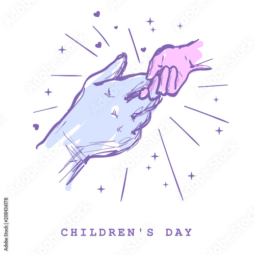 Children S Day Concept Hands Of Man And Child Holding Together
