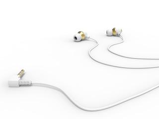 Modern white gold phone headphones - on the ground