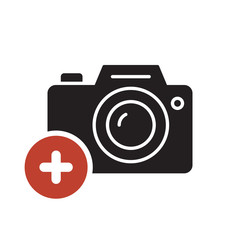 Photo camera icon, technology icon with add sign. Photo camera icon and new, plus, positive symbol