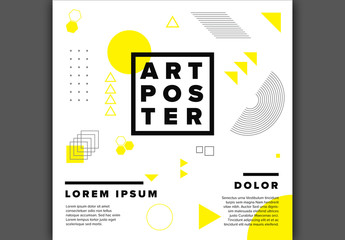 Square Poster Layout with Yellow Geometric Elements