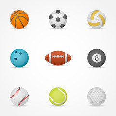 Set of sport balls isolated on white background. Vector illustration.