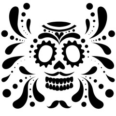 Black silhouette. Mexican skull mask. Day of The Dead skull, cartoon style. Sugar skull with floral element. Vector flat illustration isolated on white background