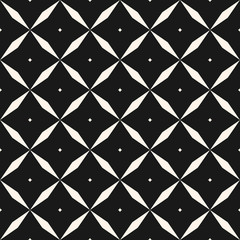 Black and white vector geometric seamless pattern with diamonds, rhombuses, grid