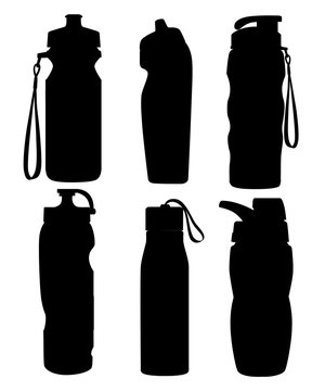 Black silhouette. Collection of sport bottles. Bicycle plastic bottle. Outdoor activities. Different forms of water containers. Vector illustration isolated on white background