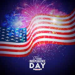 Happy Independence Day of the USA Vector Illustration. Fourth of July Design with Flag and Firework on Blue Background for Banner, Greeting Card, Invitation or Holiday Poster.