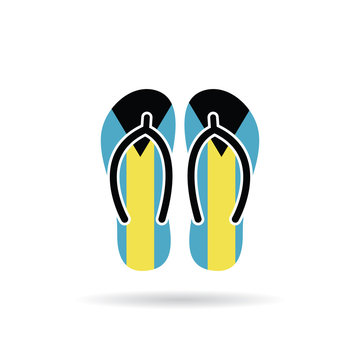Bahamas flag flip flop sandals icon on a white background.
