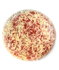 top view of frozen pizza in transparent plastic wrap on white background