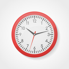 Red wall office clock isolated on white background. Vector illustration.