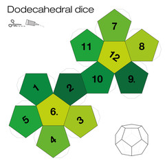 Dodecahedron template, dodecahedral dice - one of the five platonic solids - make a 3d item with twelve sides out of the net and play dice. Illustration on white background.