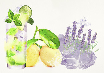 Lemon cocktail. Watercolor design elements