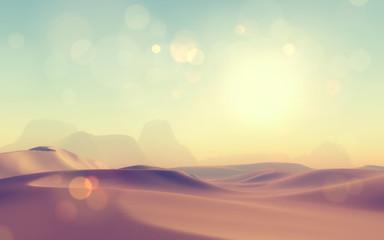 3D retro styled desert scene