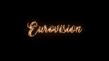 Eurovision 2018 song contest, Lisbon Portugal, greeting text with particles and sparks isolated on black background, beautiful typography magic design.