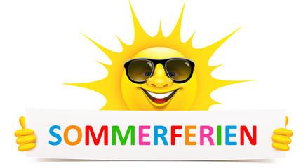 Cartoon Sonne mit Sonnenbrille hält Banner - Sommerferien