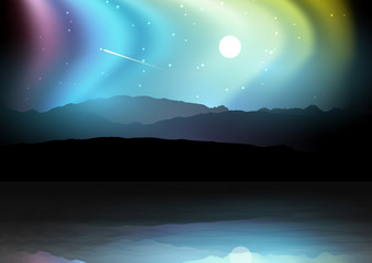 Night landscape with mountains against a northern lights sky