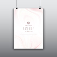 Brochure template with pink marble effect