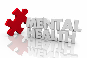 Mental Health Puzzle Treatment Disorder Condition Words 3d Render Illustration