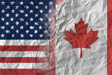 US and Canada on crumpled paper, policy and relations concept