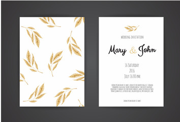 Golden Vector invitation with floral elements.