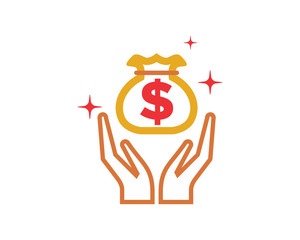 pray hand money business company office corporate image vector icon logo
