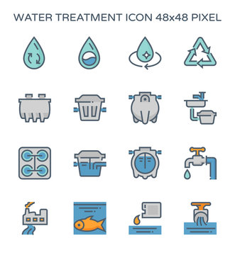 Water treatment plant and septic tank icon, 64x64 perfect pixel and editable stroke.
