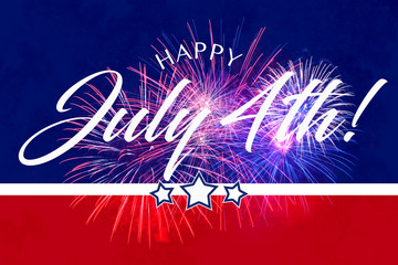 Happy JUly 4th greeting with red and blue background with fireworks