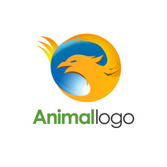 Phoenix logo design template. Animal logo vector