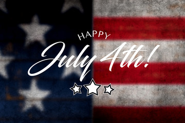Happy JUly 4th greeting with red and blue background on wooden painted flag