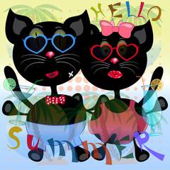 cats hello summer poster vector
