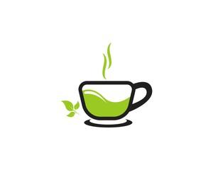 Green tea cup icon logo vector template