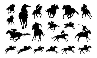 Set of Jockey Illustration Silhouette vector