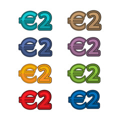 Illustration Vector of price 2 euro, Europe currency