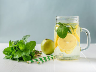 Fresh drink of lemon, lime, mint and ginger with two cocktail tubes on a white table.