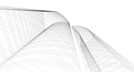 Abstract 3D building wireframe structure. Illustration construction graphic idea , Architectural sketch idea.