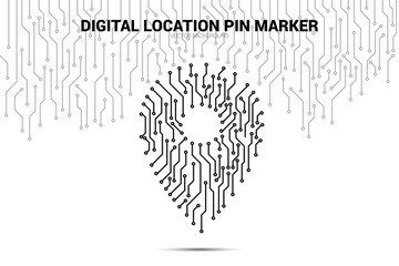 Location Pin Marker from circuit board line, Digital GPS signage