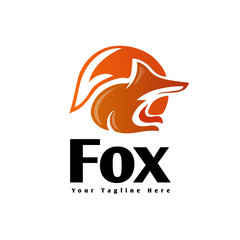 circle Sitting fox extracted looking logo