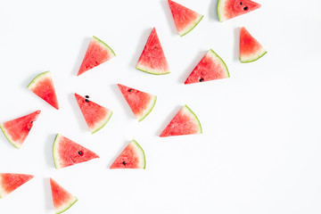 Watermelon pattern. Red watermelon on white background. Summer concept. Flat lay, top view, copy space