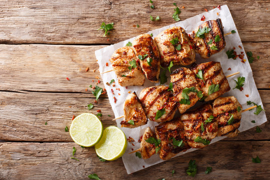 Kebab e Murgh - Chicken Kabab Marinated in a Yogurt Cumin Sauce closeup. horizontal top view from above