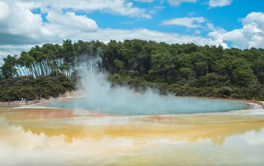 Scenery view of Central pools of Wai-O-Tapu the geothermal wonderland in Rotorua, New Zealand.