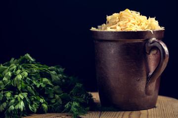 Sauerkraut as the best probiotic in the world. Homemade sauerkraut pickling.