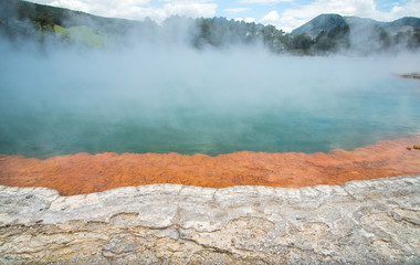 Champagne pool an iconic tourist attraction of Wai-O-Tapu the geothermal wonderland in Rotorua, New Zealand.